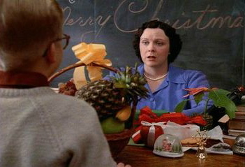 Ralphie brings his teacher a basket of fruit in A Christmas Story