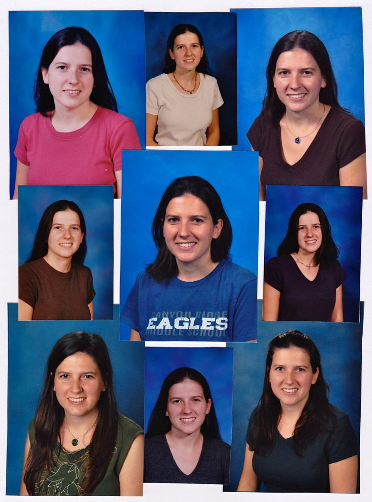 The Many Faces of Ms. Kinder/Juettner - The middle left photo has got to be my first year of teaching because I look 12.