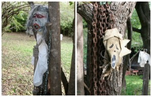 Got masks you aren't using this year? Decorate with them! Nail them to a tree or stick them on a dummy.