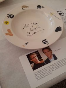 Bowl signed by Cary Elwes in the silent auction