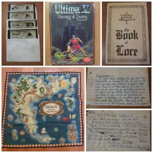 Memorabilia from Ultima V, including notes between myself and my friend Richard as we collectively tried to beat the game.