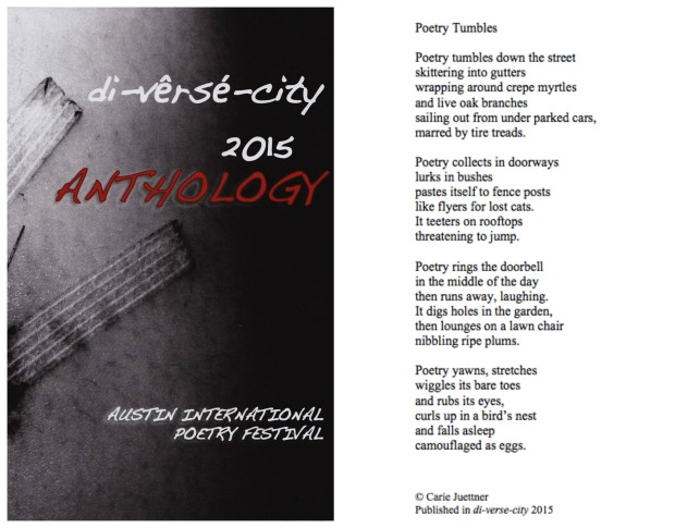 "I'm proud that my poem ""Poetry Tumbles"" made it into this year's anthology."