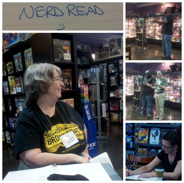 At the Nerd Read at Austin Books & Comics with the lovely and talented Rie Sheridan Rose, Joe Brundidge, Mike Whalen, and a poet whose name I did not catch.
