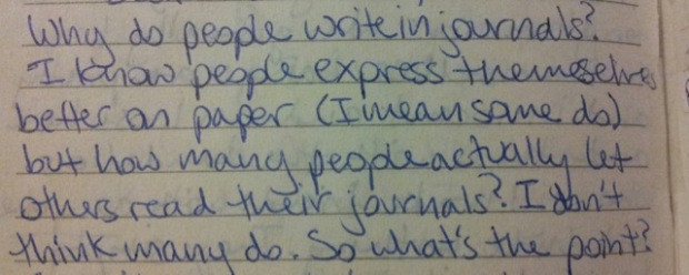 I contemplate journaling theory in the second entry of my first ever diary-journal.