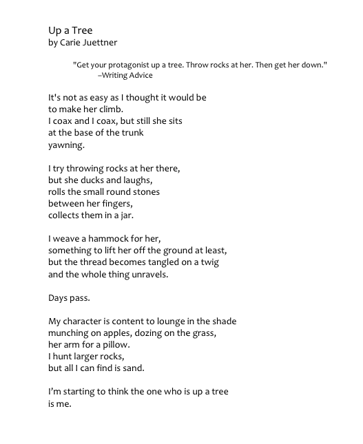 """Up a Tree"" won Second Place in the Austin Poetry Society's Moving Along Award, 2014"