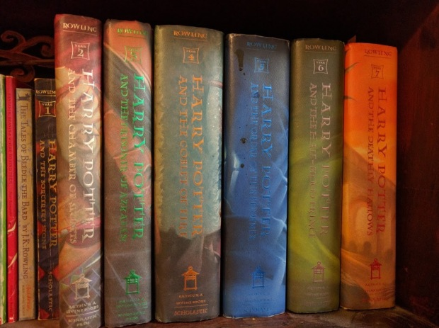 All of my Harry Potter books, including Quidditch Through the Ages, Fantastic Beasts and Where to Find Them, and The Tales of Beedle the Bard.